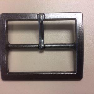Metalen gesp 50 mm. vierkant oud nikkel