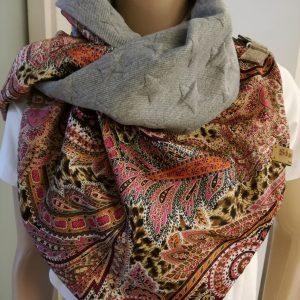 Sjaal cashmir met grijze ster
