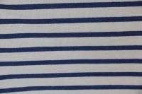 Ecru french terry met blauwe strepen