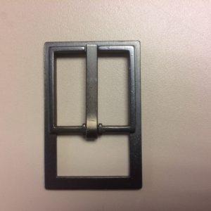 Metalen gesp 25 mm. rechthoek oud nikkel