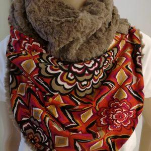 Sjaal imitatiebont – taupe