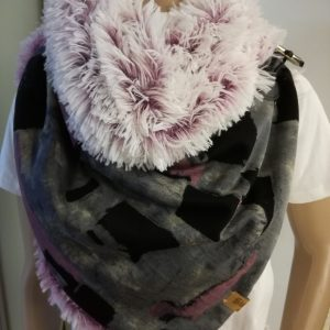 Sjaal imitatiebont – roze