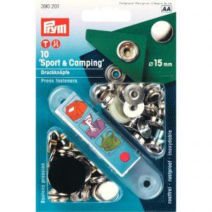 """Prym 390201 – drukknopen """"Sport & Camping"""" Ø15mm – zilverkleurig"""