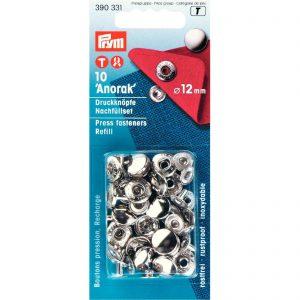 """Prym 390331 – drukknopen """"Anorak"""" Ø12mm – navulling – zilverkleurig"""