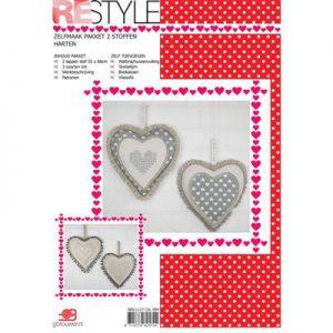 DIY pakket voor 2 stoffen harten